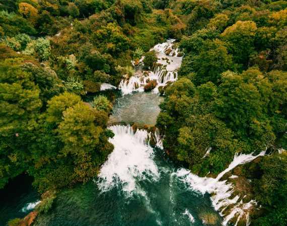 Aerial Photo of Krka waterfalls in the Krka National Park, Croatia.