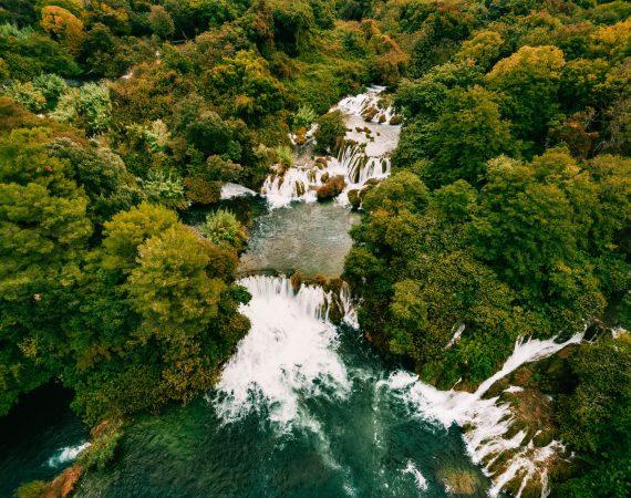 Aerial Photo of Krka waterfalls in the Krka National Park, Croatia.